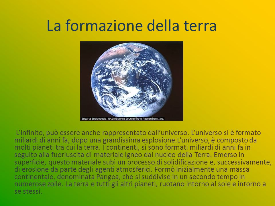 La formazione della terra