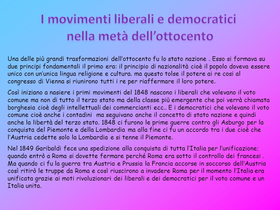 I movimenti liberali e democratici nella metà dell'ottocento