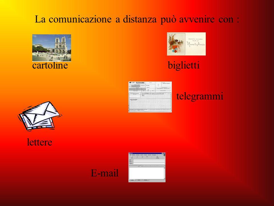 La comunicazione a distanza può avvenire con :