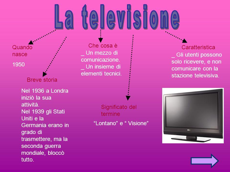 La televisione Che cosa è Quando nasce 1950 Caratteristica