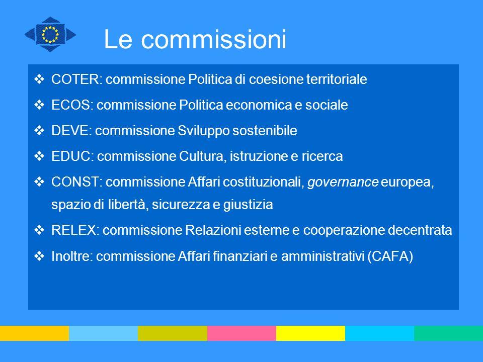 Le commissioni COTER: commissione Politica di coesione territoriale
