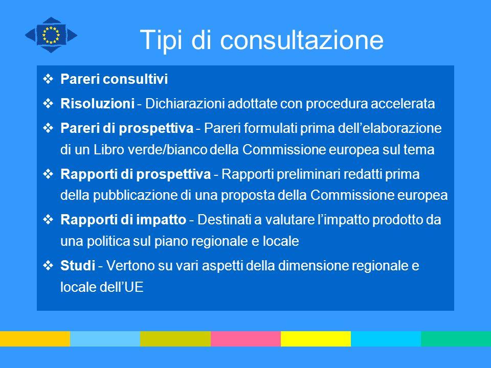 Tipi di consultazione Pareri consultivi