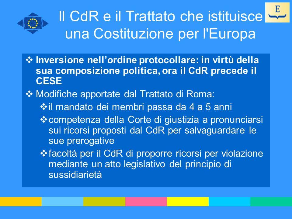 Il CdR e il Trattato che istituisce una Costituzione per l Europa