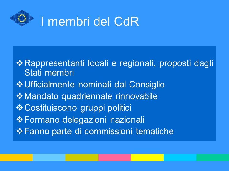 I membri del CdR Rappresentanti locali e regionali, proposti dagli Stati membri. Ufficialmente nominati dal Consiglio.