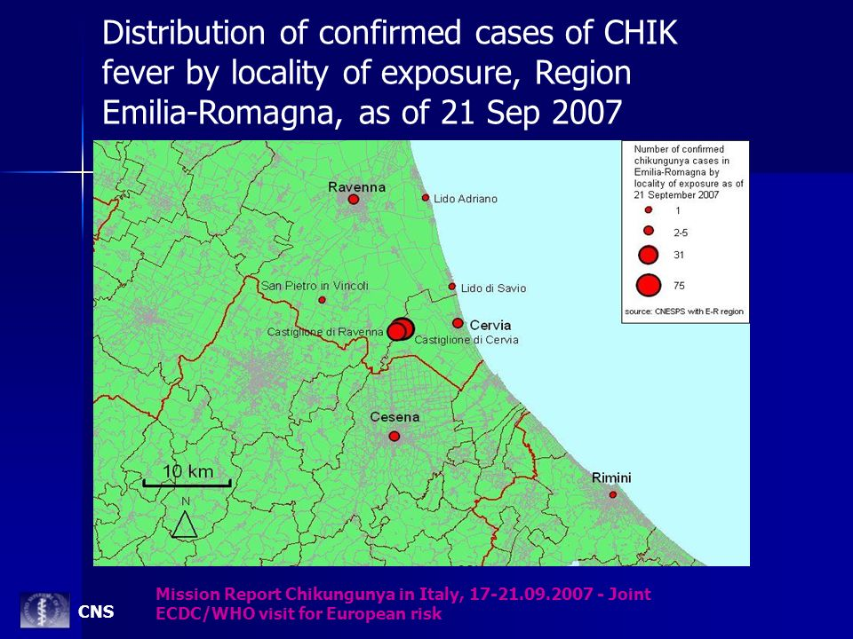 Distribution of confirmed cases of CHIK fever by locality of exposure, Region Emilia-Romagna, as of 21 Sep 2007