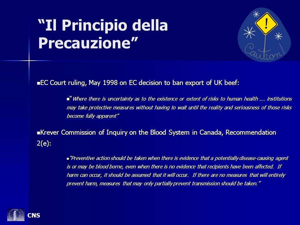 Il Principio della Precauzione