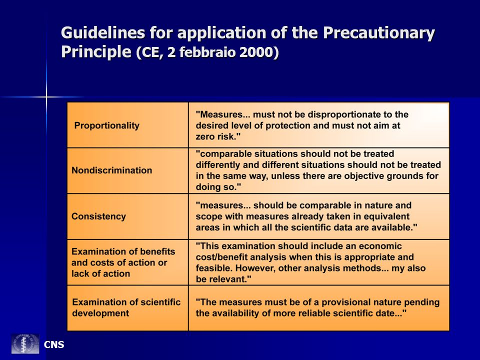 Guidelines for application of the Precautionary Principle (CE, 2 febbraio 2000)