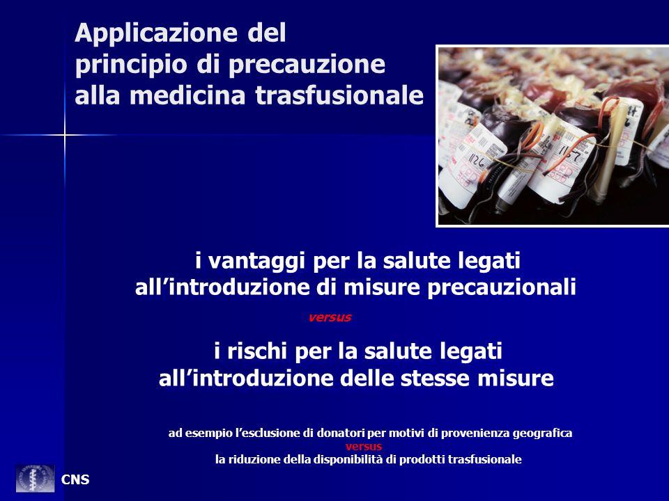 Applicazione del principio di precauzione alla medicina trasfusionale
