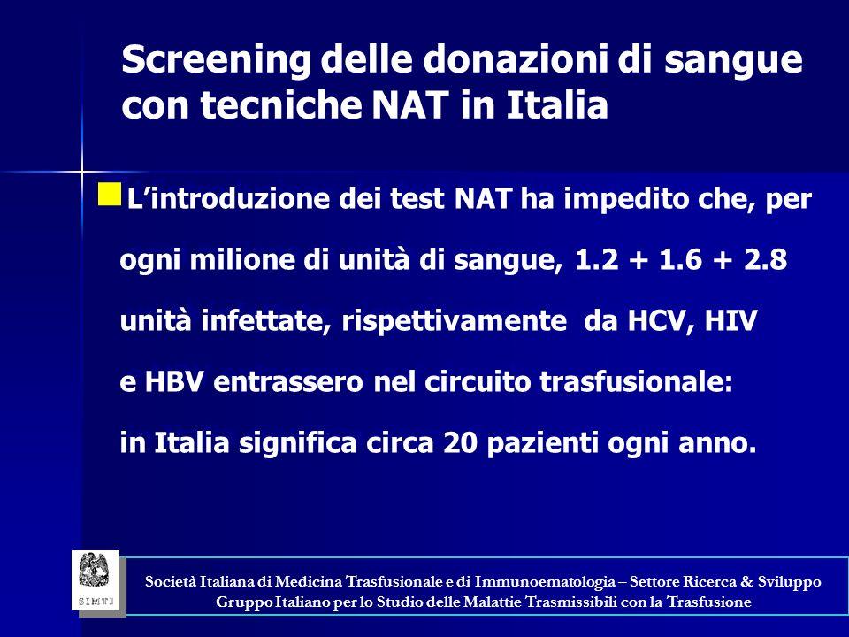 Screening delle donazioni di sangue con tecniche NAT in Italia