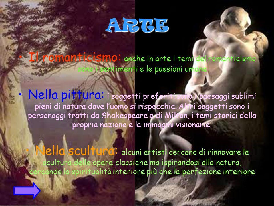 ARTE Il romanticismo: anche in arte i temi del romanticismo sono i sentimenti e le passioni umane.