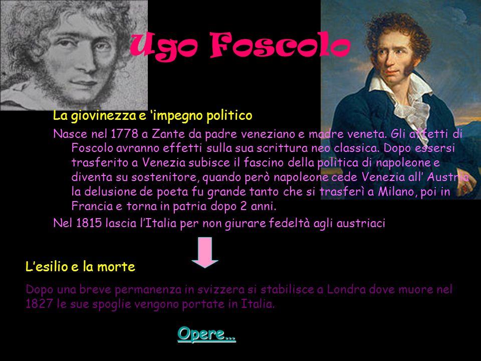 Ugo Foscolo Opere… La giovinezza e 'impegno politico
