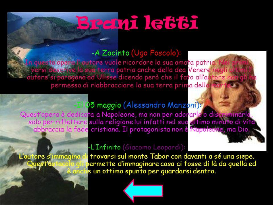 Brani letti -A Zacinto (Ugo Foscolo):