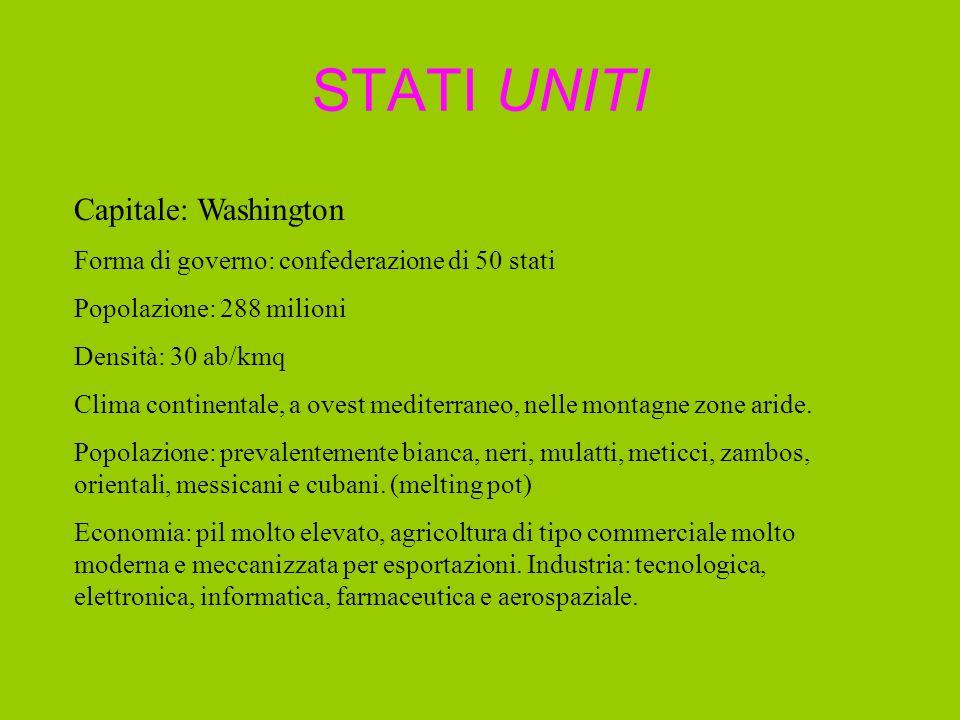 STATI UNITI Capitale: Washington