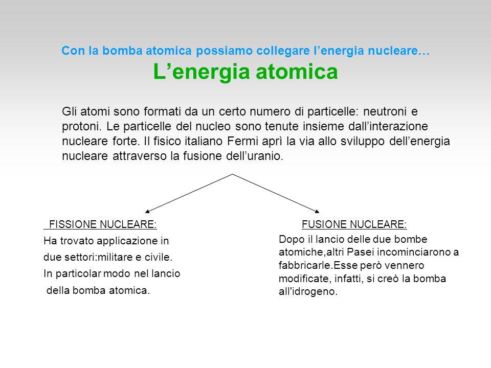 Con la bomba atomica possiamo collegare l'energia nucleare… L'energia atomica