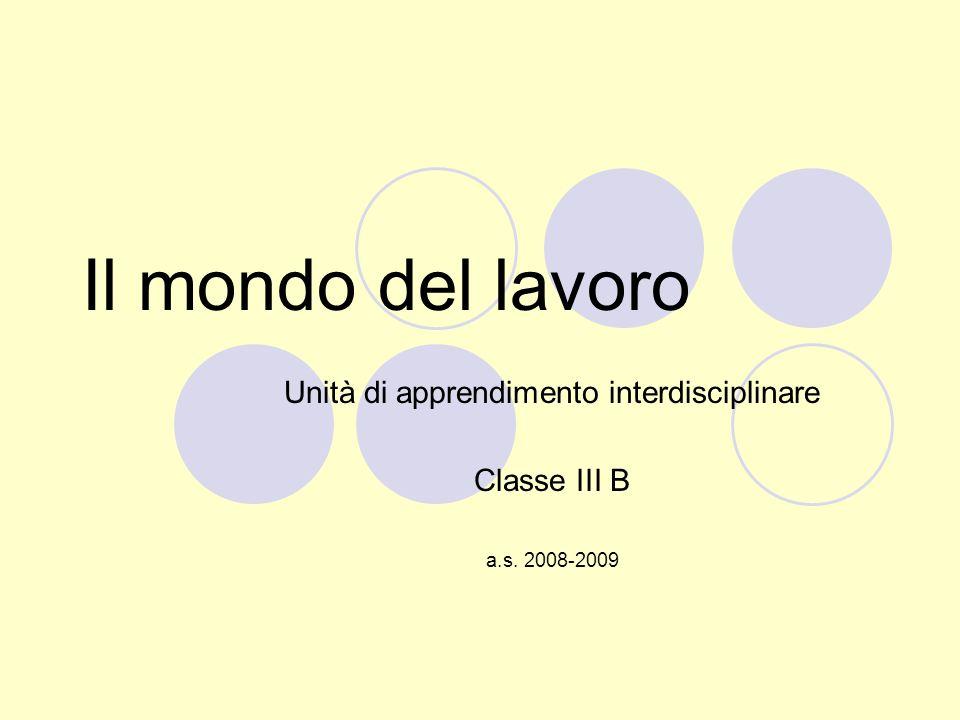 Unità di apprendimento interdisciplinare Classe III B a.s. 2008-2009