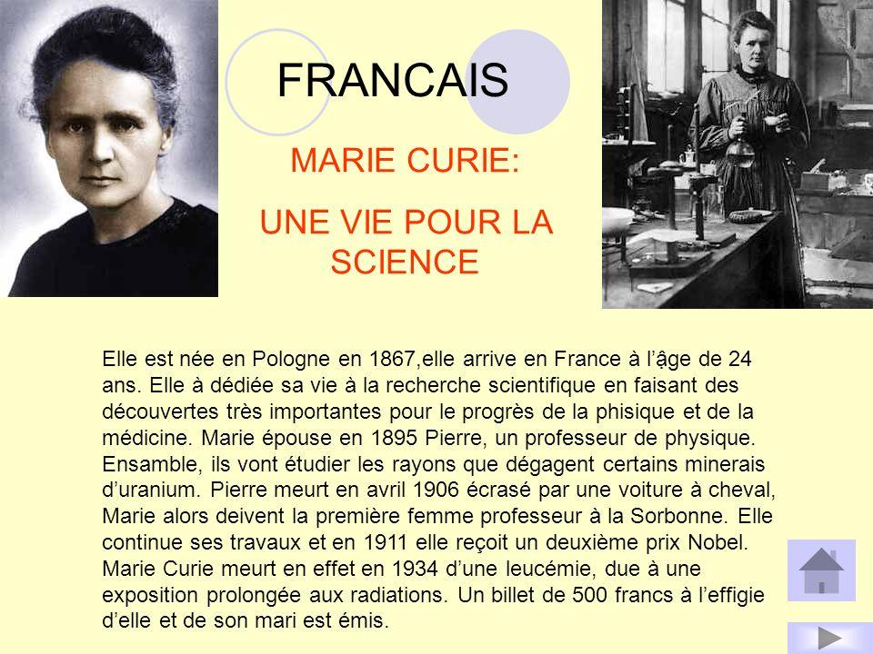 FRANCAIS MARIE CURIE: UNE VIE POUR LA SCIENCE