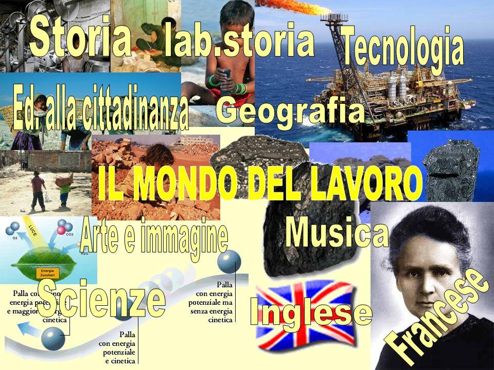 Storia lab.storia. Tecnologia. Ed. alla cittadinanza. Geografia. IL MONDO DEL LAVORO. Arte e immagine.