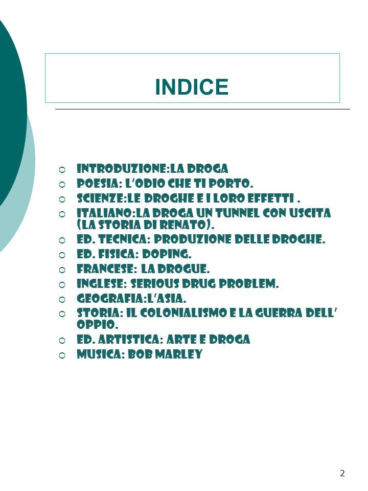 INDICE Introduzione:la droga Poesia: l'odio che ti porto.