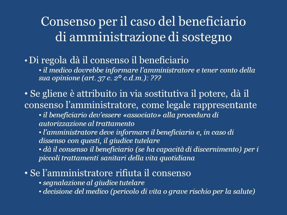 Consenso per il caso del beneficiario di amministrazione di sostegno