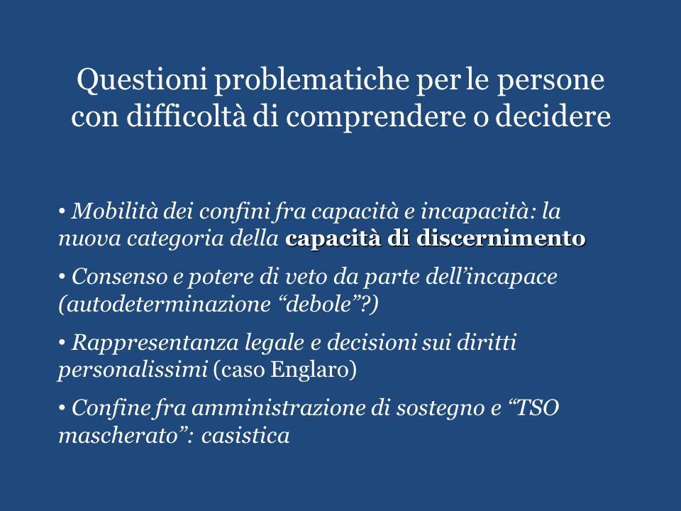 Questioni problematiche per le persone con difficoltà di comprendere o decidere