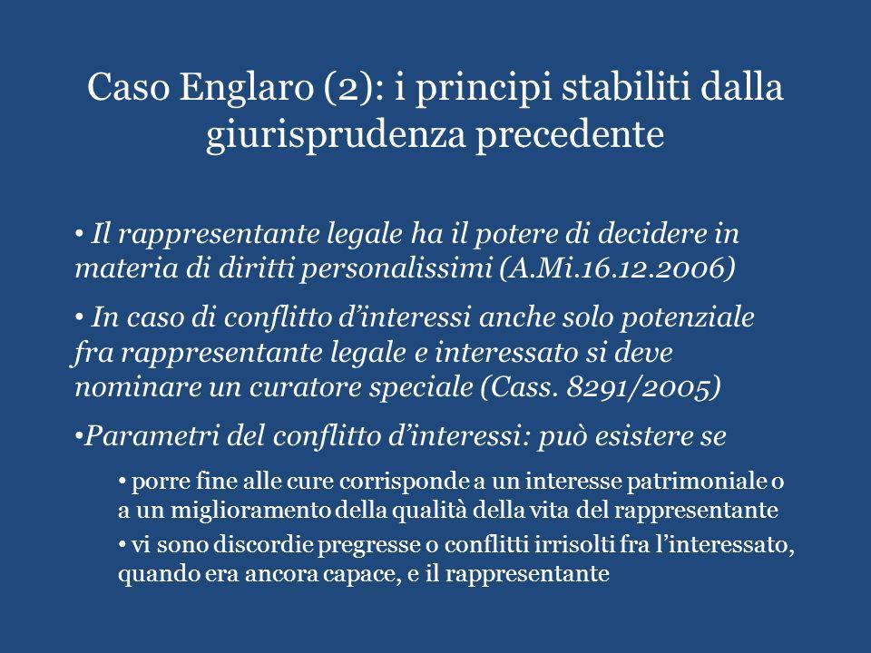 Caso Englaro (2): i principi stabiliti dalla giurisprudenza precedente