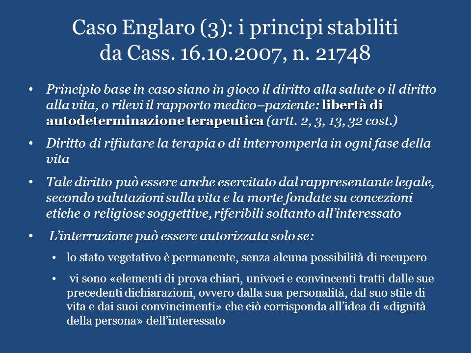 Caso Englaro (3): i principi stabiliti da Cass. 16.10.2007, n. 21748