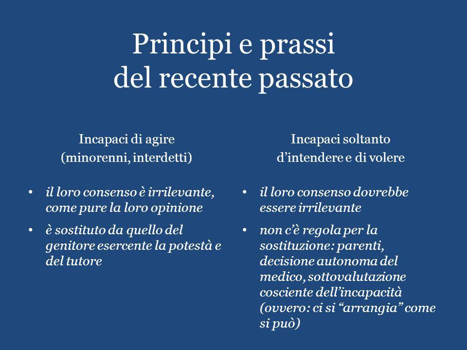 Principi e prassi del recente passato