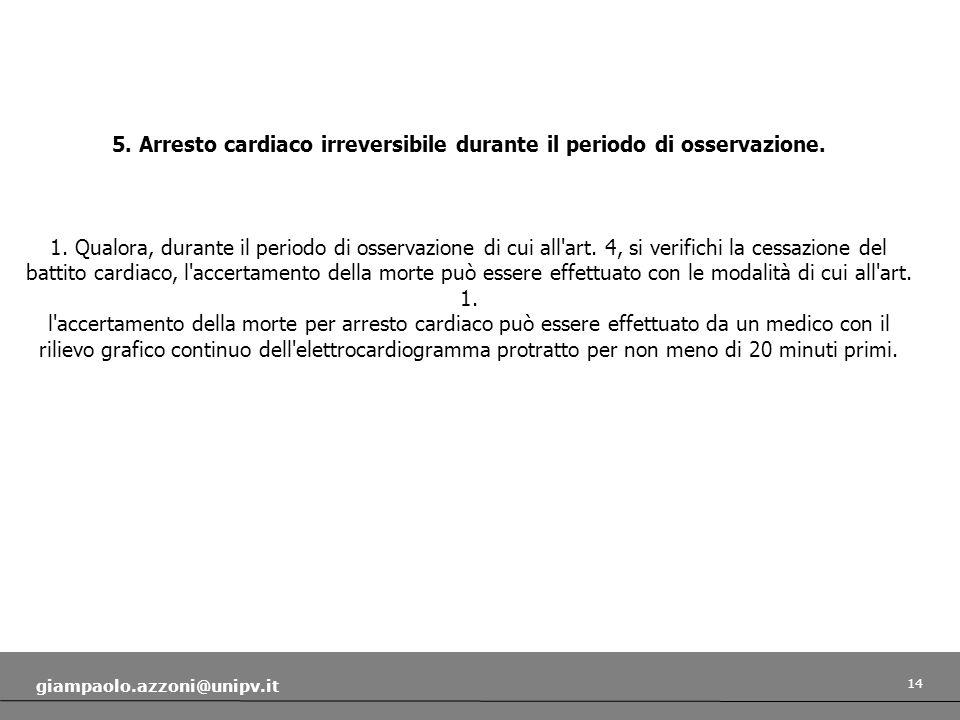 5. Arresto cardiaco irreversibile durante il periodo di osservazione.