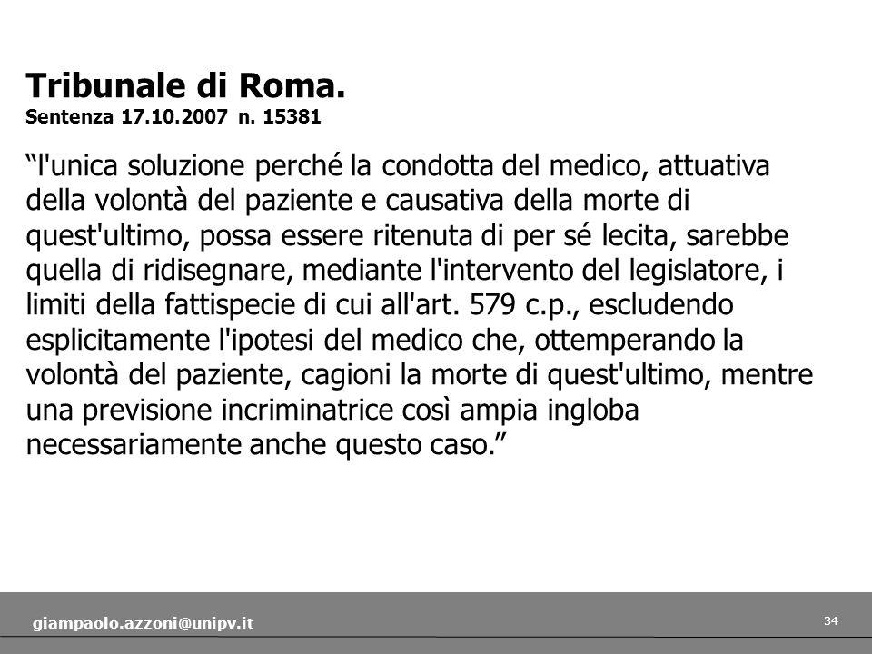 Tribunale di Roma. Sentenza 17.10.2007 n. 15381.