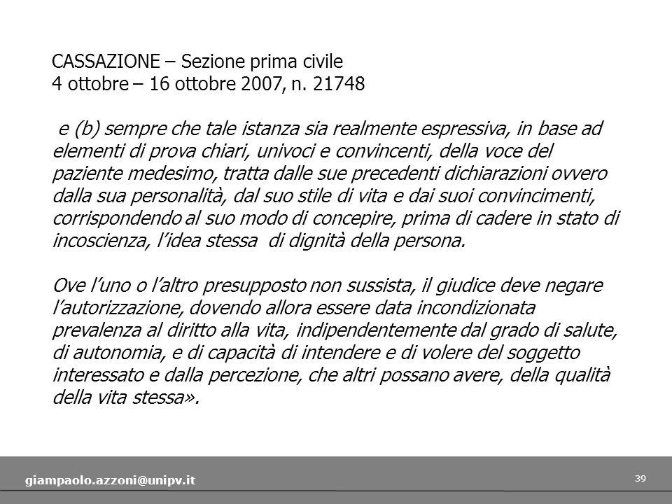 CASSAZIONE – Sezione prima civile