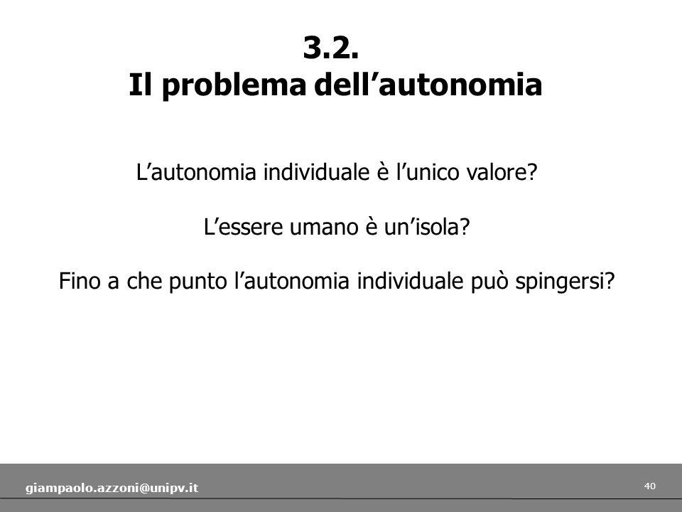 Il problema dell'autonomia