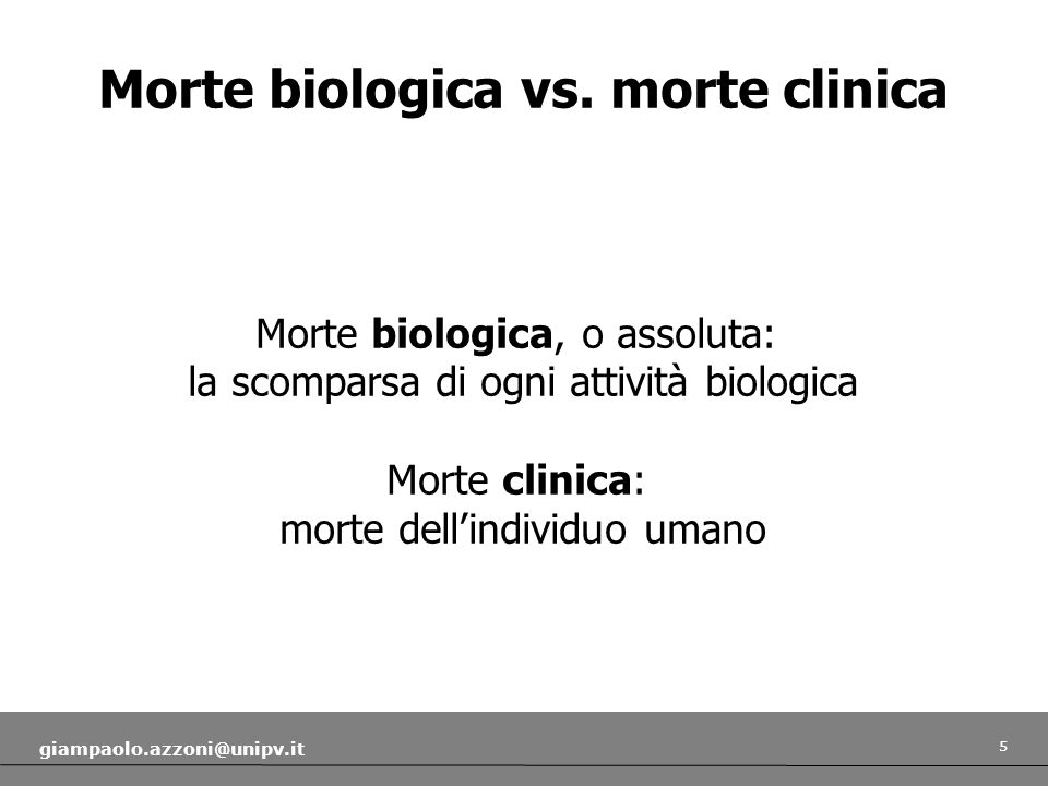 Morte biologica vs. morte clinica