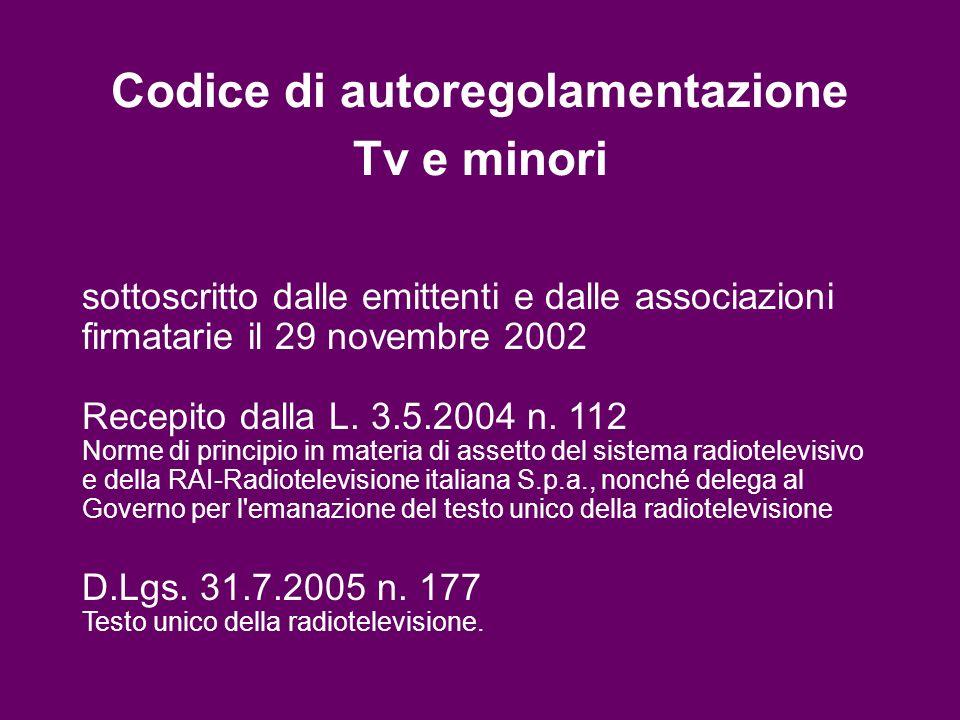Codice di autoregolamentazione Tv e minori