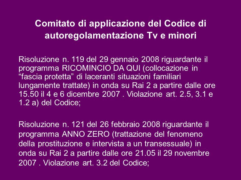 Comitato di applicazione del Codice di autoregolamentazione Tv e minori