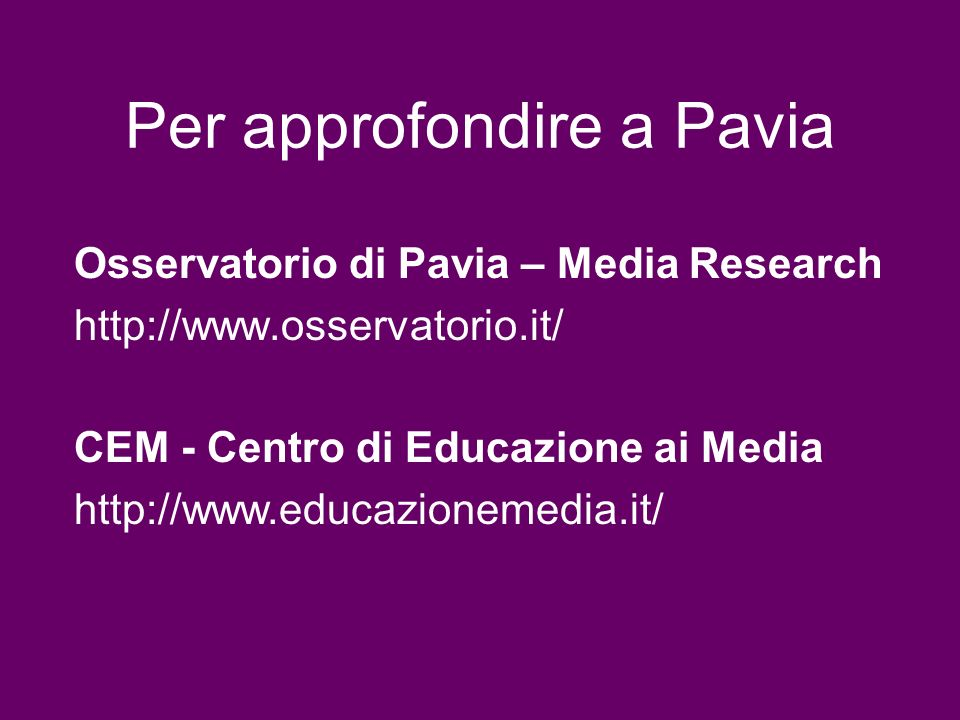 Per approfondire a Pavia