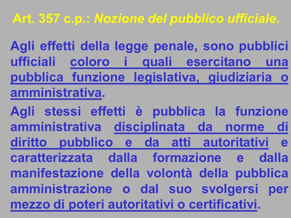 Art. 357 c.p.: Nozione del pubblico ufficiale.