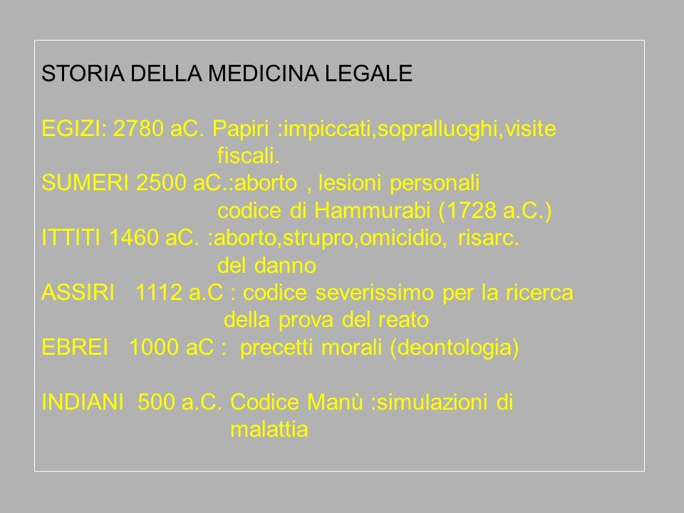 STORIA DELLA MEDICINA LEGALE
