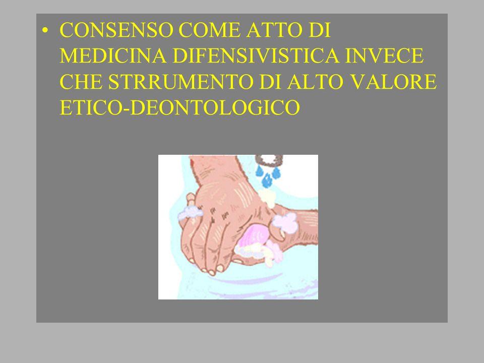 CONSENSO COME ATTO DI MEDICINA DIFENSIVISTICA INVECE CHE STRRUMENTO DI ALTO VALORE ETICO-DEONTOLOGICO