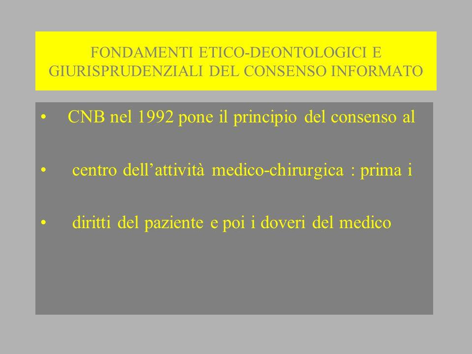 CNB nel 1992 pone il principio del consenso al