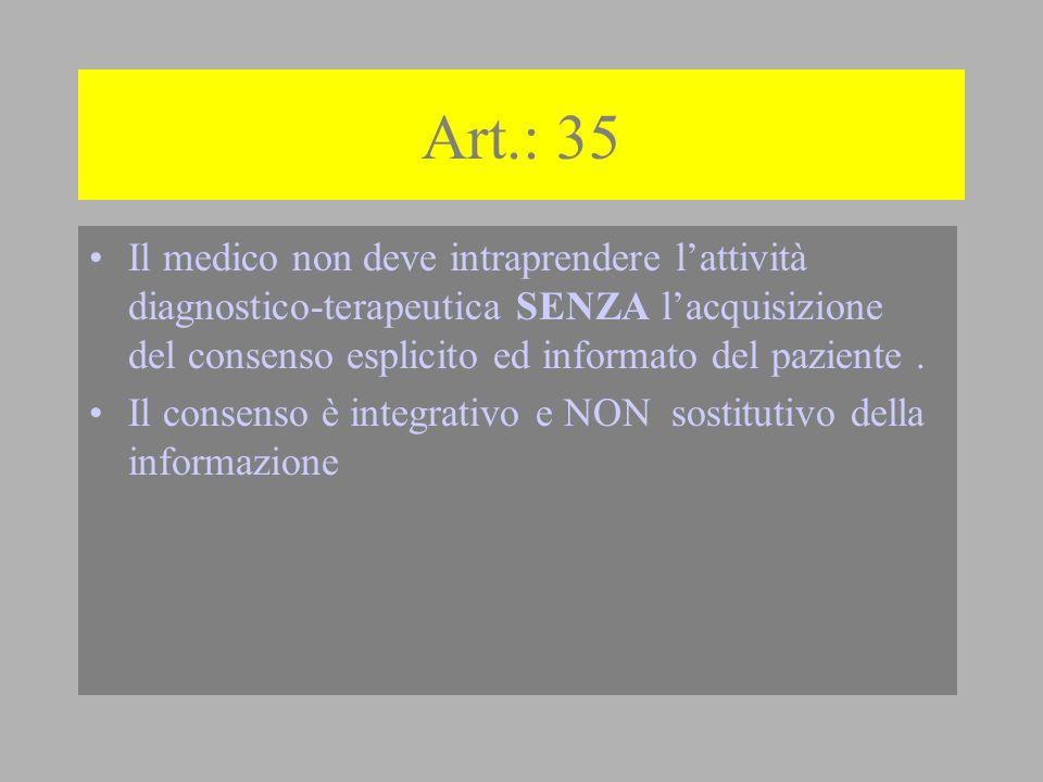 Art.: 35 Il medico non deve intraprendere l'attività diagnostico-terapeutica SENZA l'acquisizione del consenso esplicito ed informato del paziente .