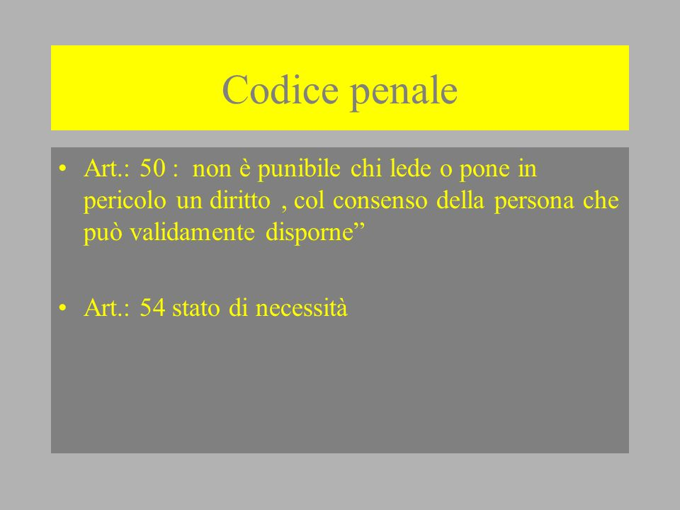 Codice penale Art.: 50 : non è punibile chi lede o pone in pericolo un diritto , col consenso della persona che può validamente disporne
