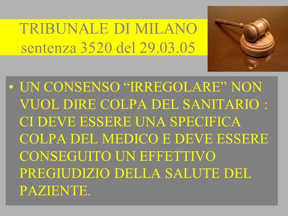 TRIBUNALE DI MILANO sentenza 3520 del 29.03.05