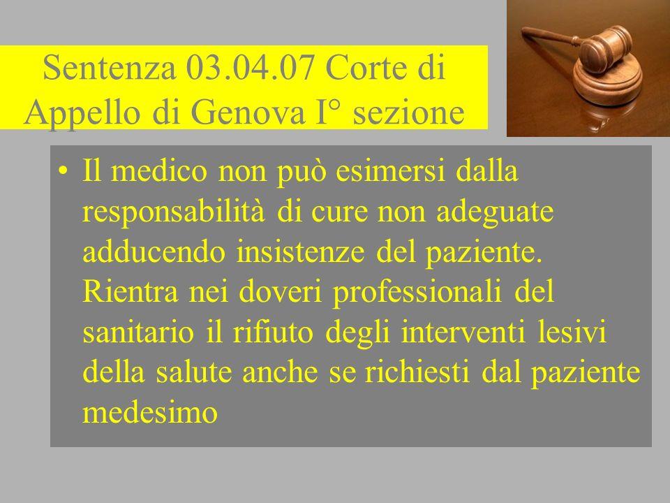 Sentenza 03.04.07 Corte di Appello di Genova I° sezione