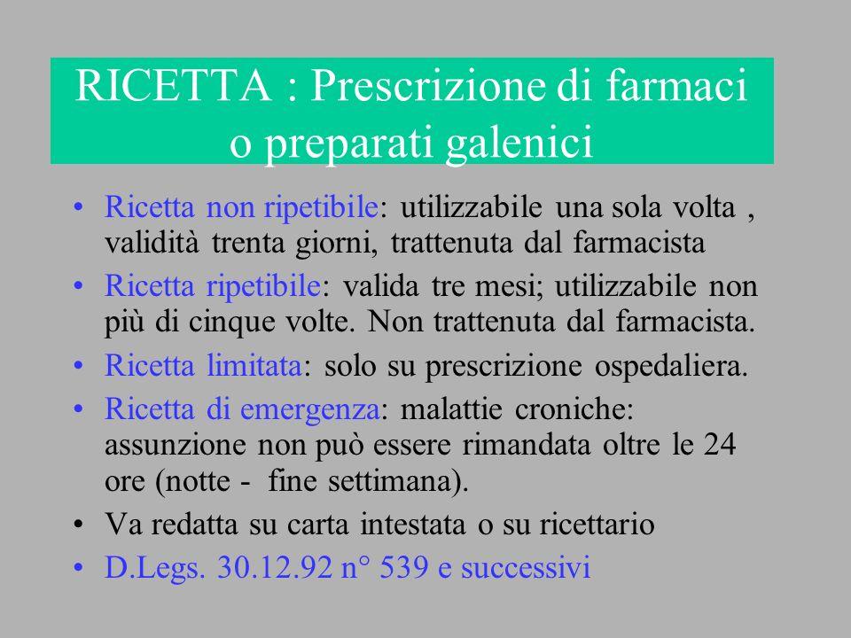RICETTA : Prescrizione di farmaci o preparati galenici