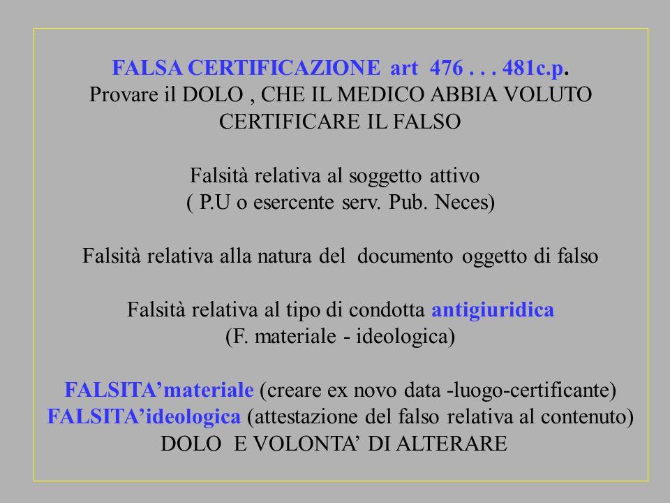 FALSA CERTIFICAZIONE art 476 . . . 481c.p.