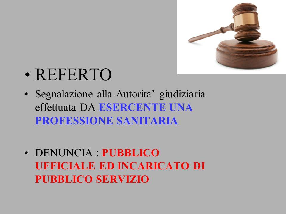 REFERTO Segnalazione alla Autorita' giudiziaria effettuata DA ESERCENTE UNA PROFESSIONE SANITARIA.