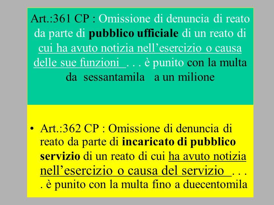 Art.:361 CP : Omissione di denuncia di reato da parte di pubblico ufficiale di un reato di cui ha avuto notizia nell'esercizio o causa delle sue funzioni . . . è punito con la multa da sessantamila a un milione