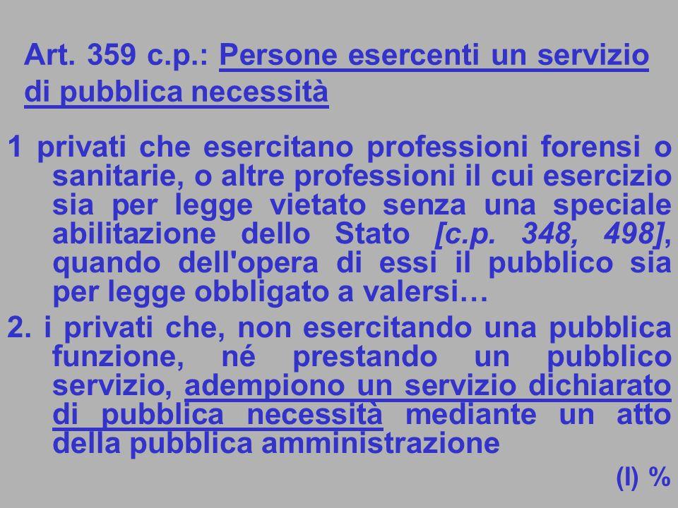 Art. 359 c.p.: Persone esercenti un servizio di pubblica necessità