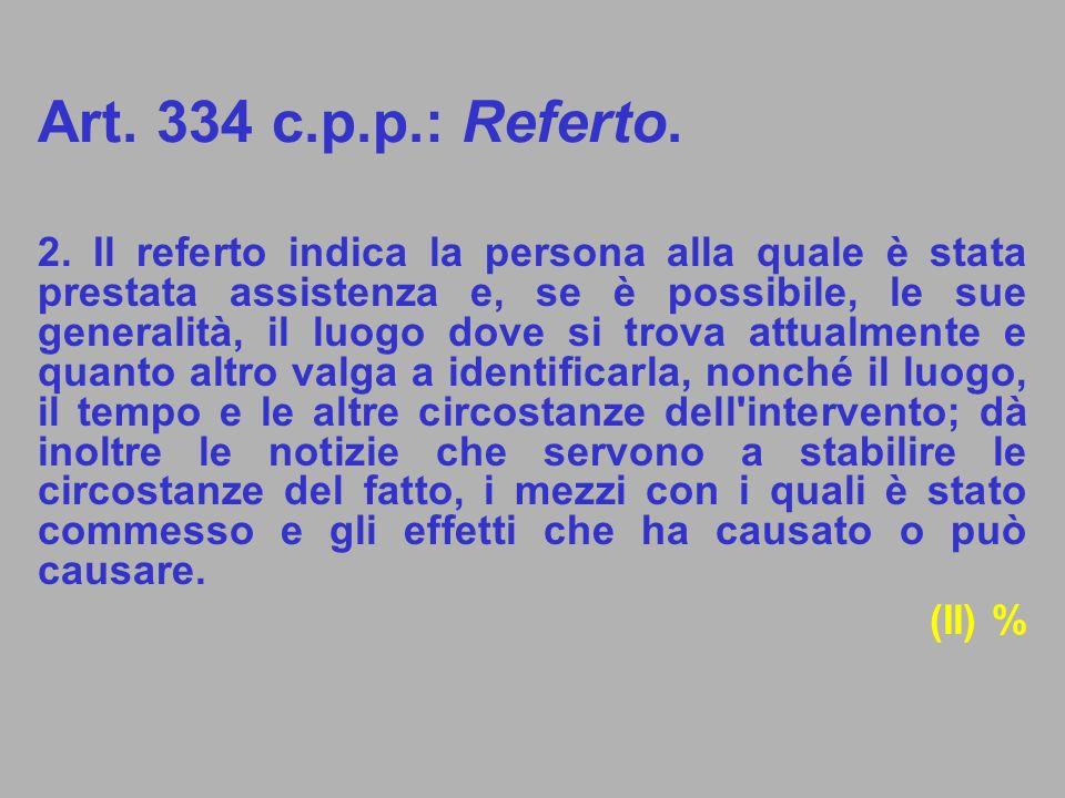 Art. 334 c.p.p.: Referto.