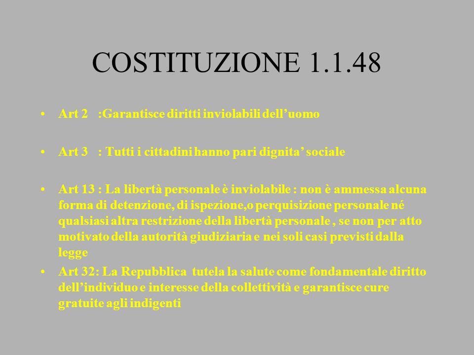 COSTITUZIONE 1.1.48 Art 2 :Garantisce diritti inviolabili dell'uomo